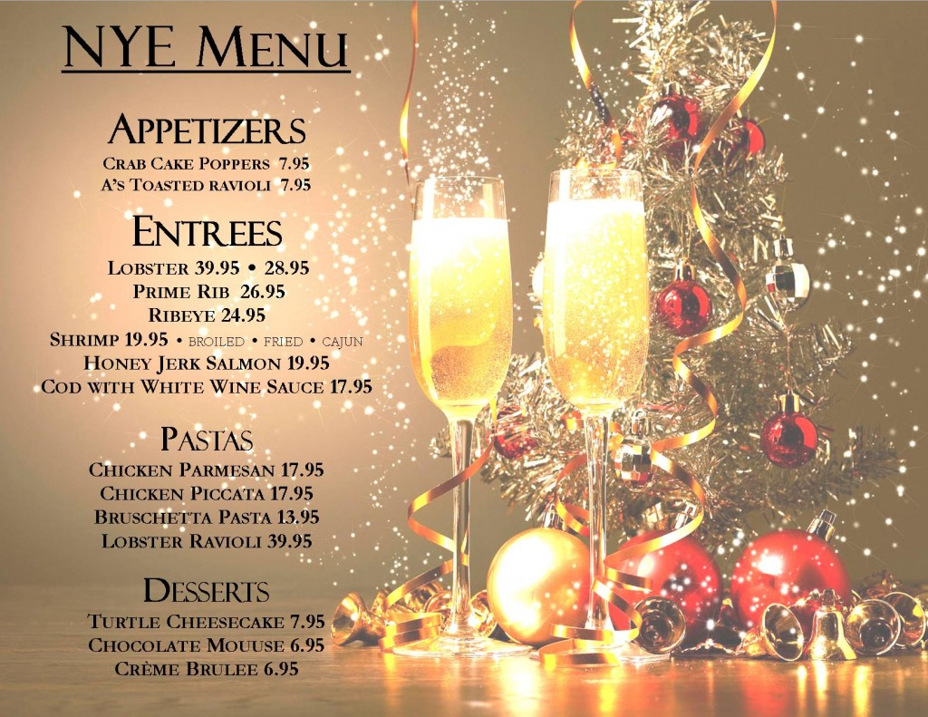 2018 New Years Eve Menu Flyer post w pricing